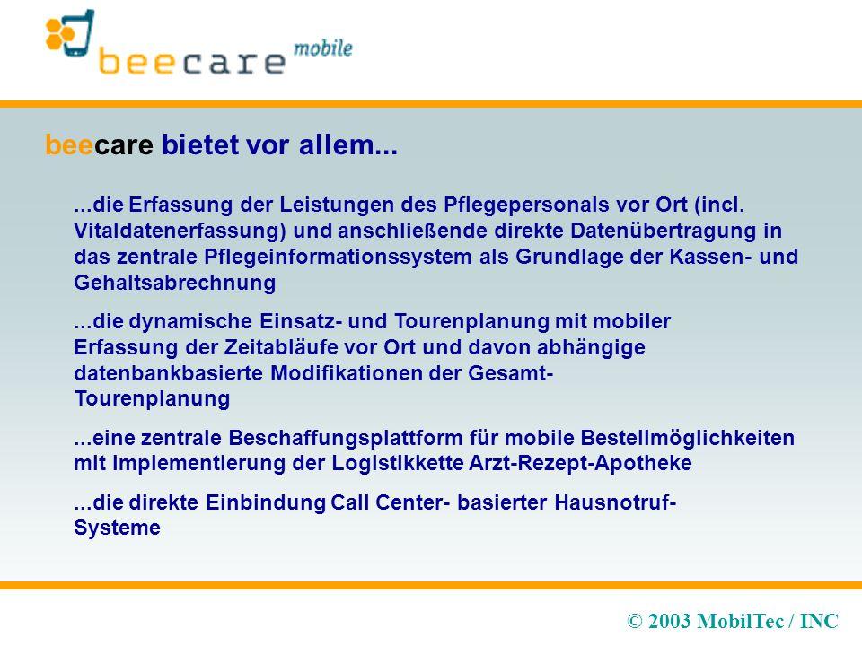 © 2003 MobilTec / INC beecare bietet vor allem......die Erfassung der Leistungen des Pflegepersonals vor Ort (incl.