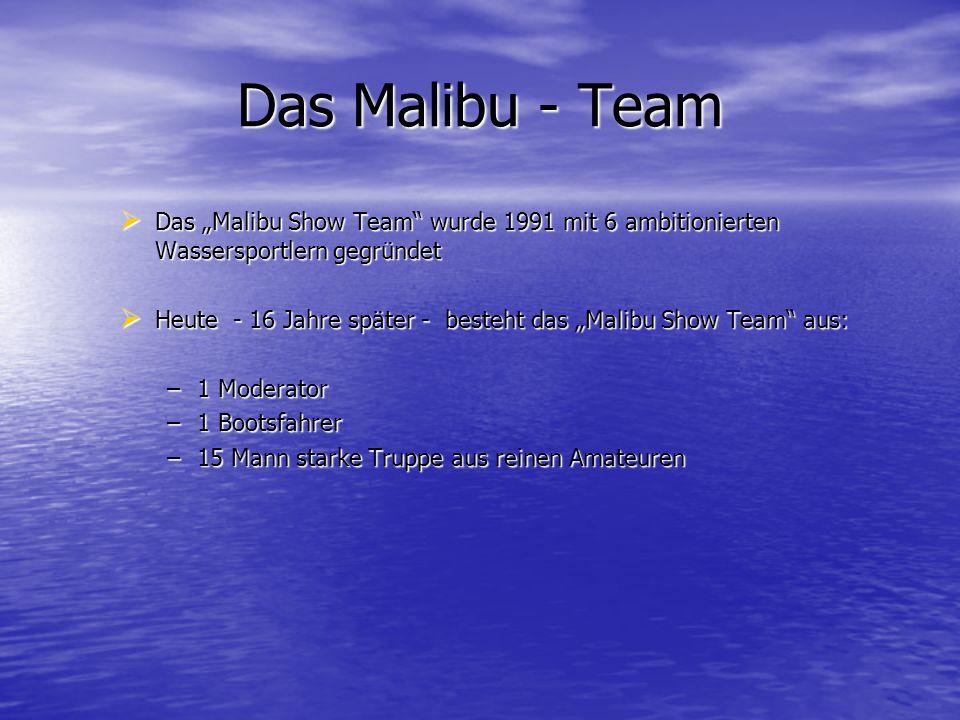 Das Malibu - Team Das Malibu Show Team wurde 1991 mit 6 ambitionierten Wassersportlern gegründet Das Malibu Show Team wurde 1991 mit 6 ambitionierten