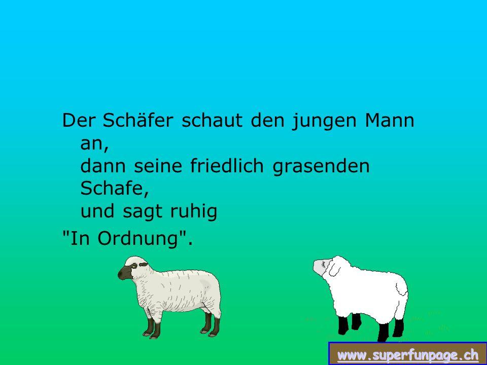www.superfunpage.ch Der Schäfer schaut den jungen Mann an, dann seine friedlich grasenden Schafe, und sagt ruhig In Ordnung .