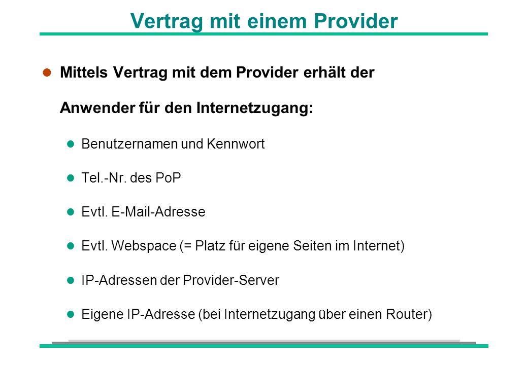 Vertrag mit einem Provider l Mittels Vertrag mit dem Provider erhält der Anwender für den Internetzugang: l Benutzernamen und Kennwort l Tel.-Nr. des