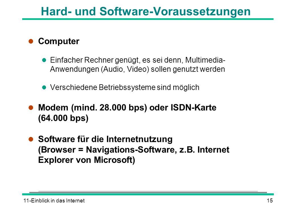 11-Einblick in das Internet15 Hard- und Software-Voraussetzungen l Computer l Einfacher Rechner genügt, es sei denn, Multimedia- Anwendungen (Audio, V