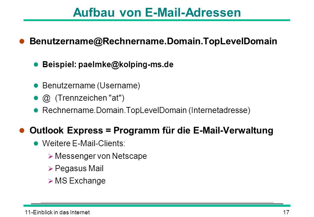 11-Einblick in das Internet17 Aufbau von E-Mail-Adressen l Benutzername@Rechnername.Domain.TopLevelDomain l Beispiel: paelmke@kolping-ms.de l Benutzername (Username) l @ (Trennzeichen at ) l Rechnername.Domain.TopLevelDomain (Internetadresse) l Outlook Express = Programm für die E-Mail-Verwaltung l Weitere E-Mail-Clients: Messenger von Netscape Pegasus Mail MS Exchange