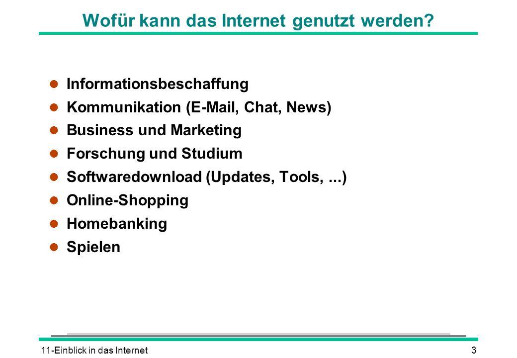 11-Einblick in das Internet3 Wofür kann das Internet genutzt werden? l Informationsbeschaffung l Kommunikation (E-Mail, Chat, News) l Business und Mar