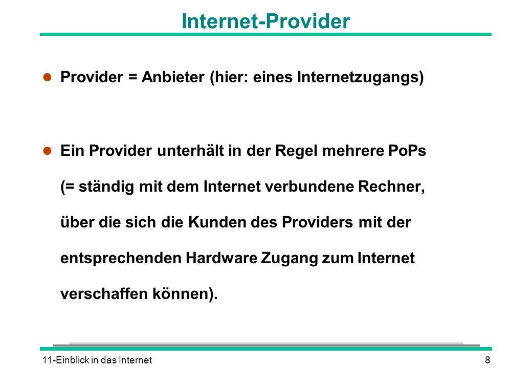 11-Einblick in das Internet8 Internet-Provider l Provider = Anbieter (hier: eines Internetzugangs) l Ein Provider unterhält in der Regel mehrere PoPs
