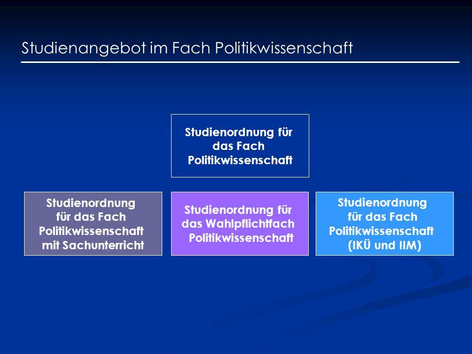 Studienangebot im Fach Politikwissenschaft Studienordnung für das Fach Politikwissenschaft Studienordnung für das Wahlpflichtfach Politikwissenschaft