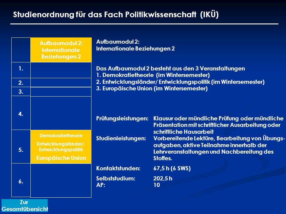 Studienordnung für das Fach Politikwissenschaft (IKÜ) Aufbaumodul 2: Internationale Beziehungen 2 Das Aufbaumodul 2 besteht aus den 3 Veranstaltungen