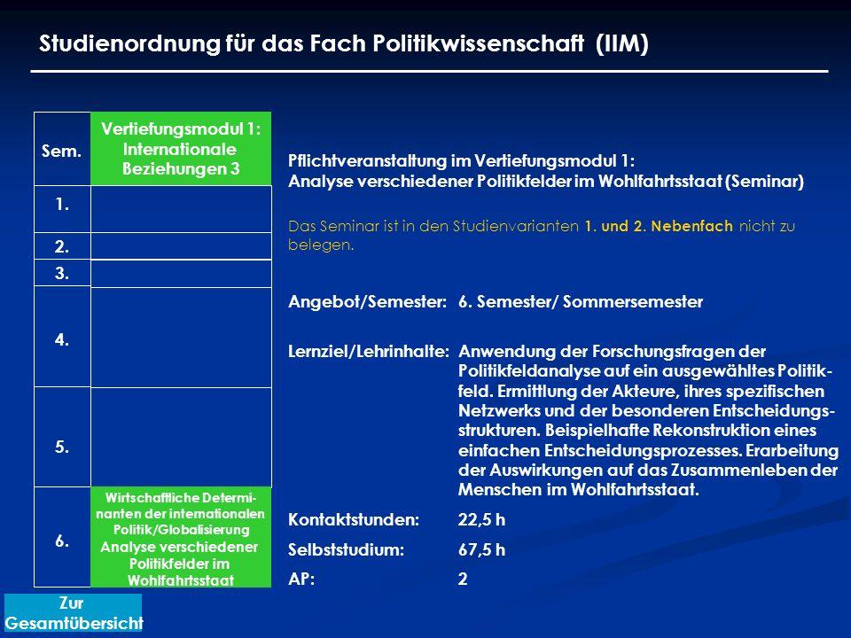 Studienordnung für das Fach Politikwissenschaft (IIM) Vertiefungsmodul 1: Internationale Beziehungen 3 Wirtschaftliche Determi- nanten der internation