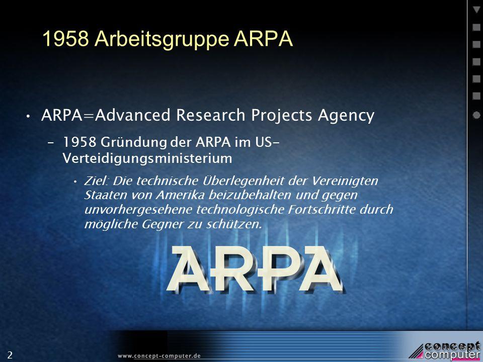 2 1958 Arbeitsgruppe ARPA ARPA=Advanced Research Projects Agency –1958 Gründung der ARPA im US- Verteidigungsministerium Ziel: Die technische Überlege