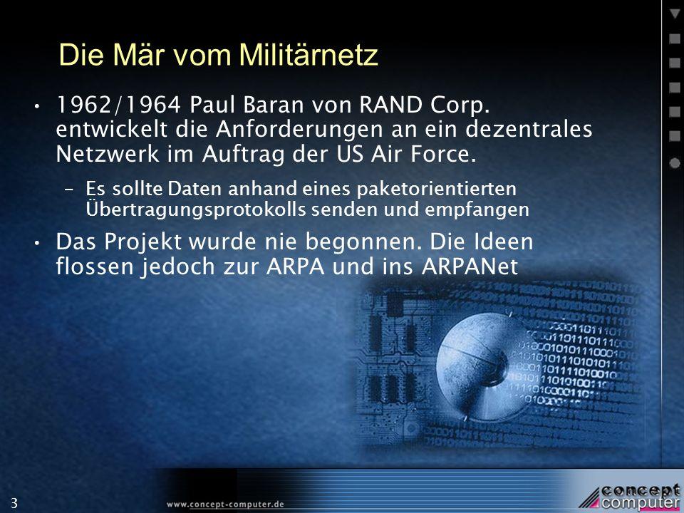 3 Die Mär vom Militärnetz 1962/1964 Paul Baran von RAND Corp. entwickelt die Anforderungen an ein dezentrales Netzwerk im Auftrag der US Air Force. –E