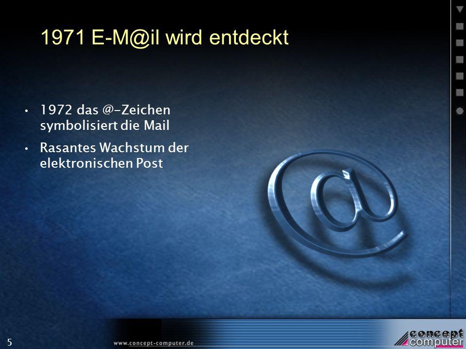 5 1971 E-M@il wird entdeckt 1972 das @-Zeichen symbolisiert die Mail Rasantes Wachstum der elektronischen Post