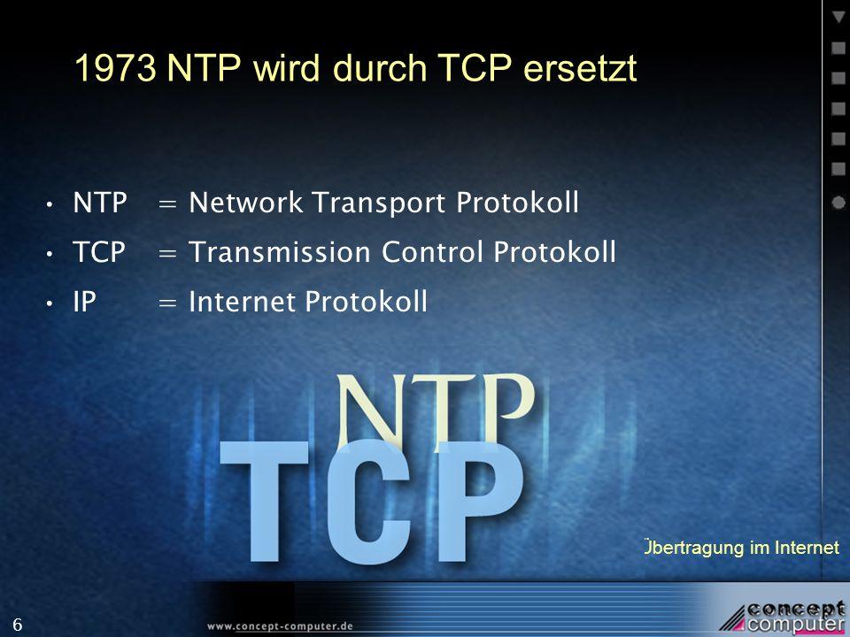 6 1973 NTP wird durch TCP ersetzt NTP = Network Transport Protokoll TCP = Transmission Control Protokoll IP = Internet Protokoll Exkurs: Wie funktioni