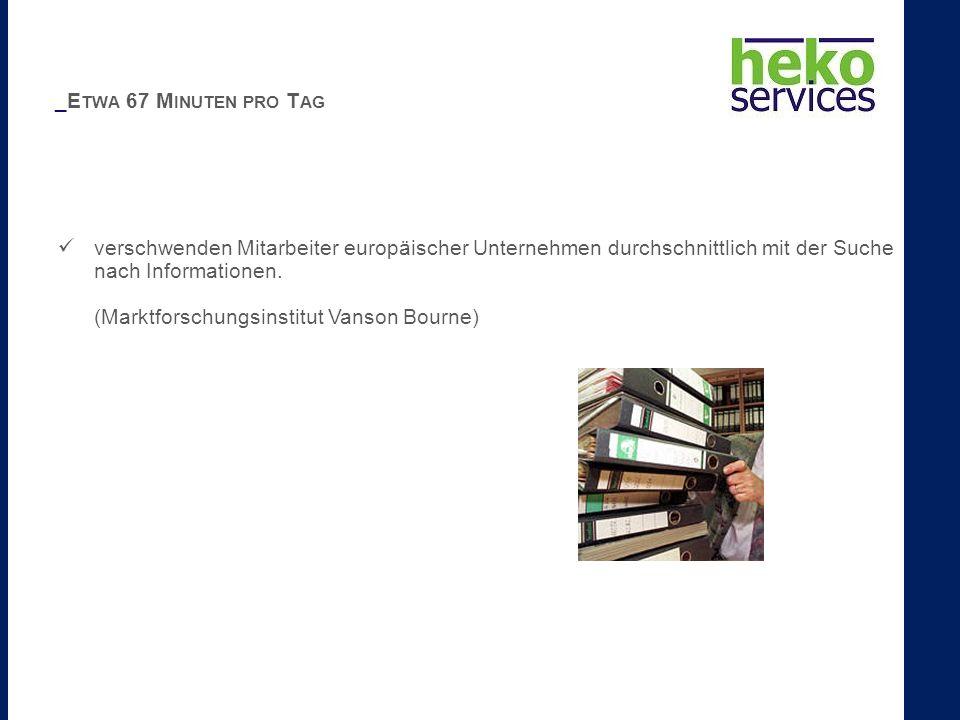 _E TWA 67 M INUTEN PRO T AG verschwenden Mitarbeiter europäischer Unternehmen durchschnittlich mit der Suche nach Informationen. (Marktforschungsinsti