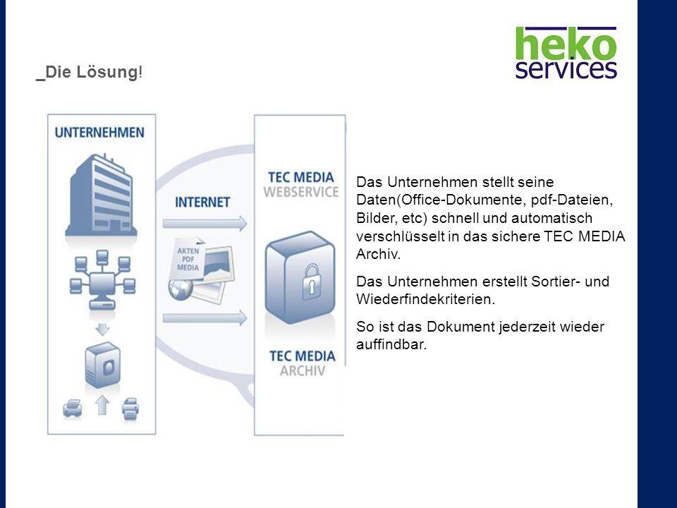 Das Unternehmen stellt seine Daten(Office-Dokumente, pdf-Dateien, Bilder, etc) schnell und automatisch verschlüsselt in das sichere TEC MEDIA Archiv.