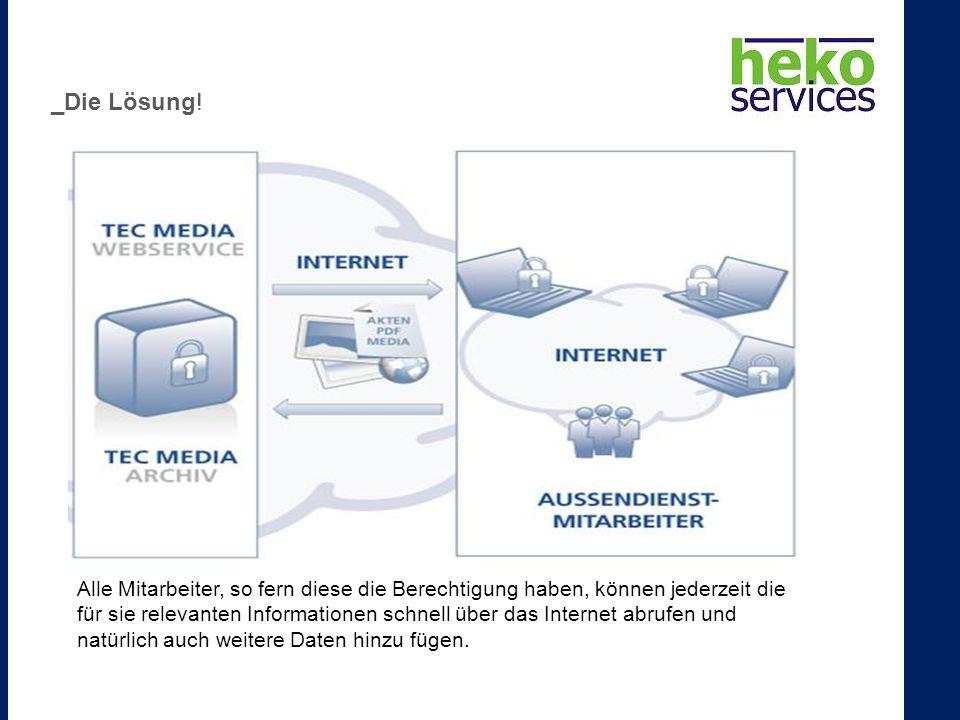 Alle Mitarbeiter, so fern diese die Berechtigung haben, können jederzeit die für sie relevanten Informationen schnell über das Internet abrufen und natürlich auch weitere Daten hinzu fügen.