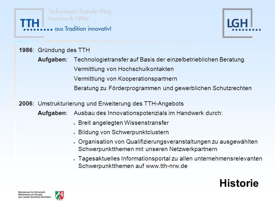 Historie 1986: Gründung des TTH Aufgaben:Technologietransfer auf Basis der einzelbetrieblichen Beratung Vermittlung von Hochschulkontakten Vermittlung