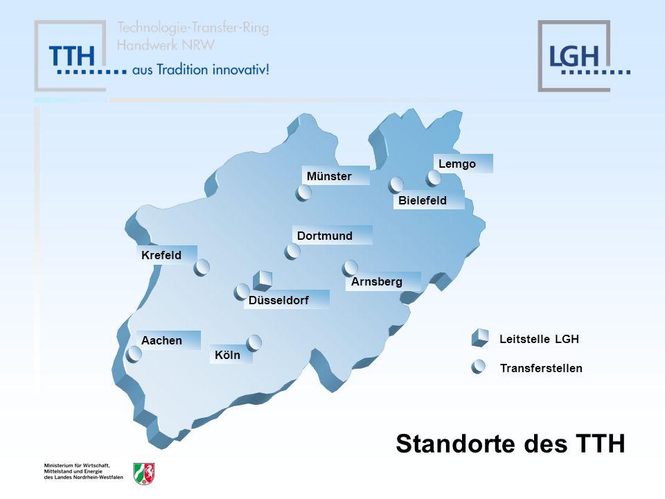 Charakteristik des Handwerks in NRW Größe der Handwerksbetriebe im Durchschnitt bei 5-6 Mitarbeitern Anteil der inhabergeführten Unternehmen < 90 % Unterschiedlich strukturierte Regionen Nachfolgeproblem u.