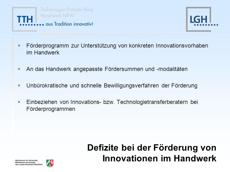 Defizite bei der Förderung von Innovationen im Handwerk Förderprogramm zur Unterstützung von konkreten Innovationsvorhaben im Handwerk An das Handwerk