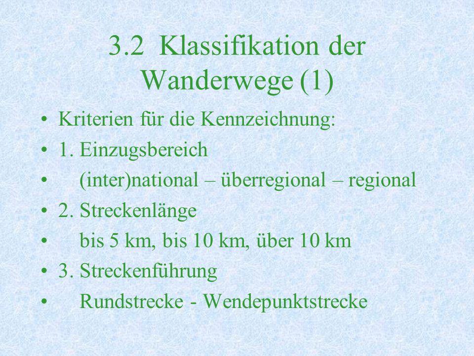 3.2 Klassifikation der Wanderwege (1) Kriterien für die Kennzeichnung: 1.