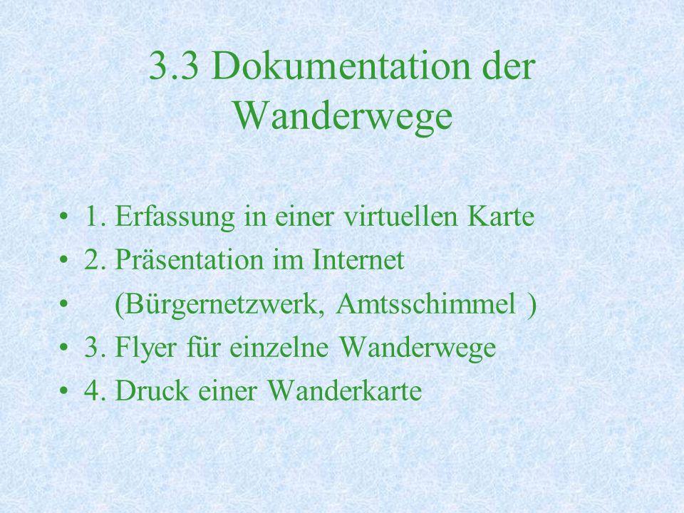 3.3 Dokumentation der Wanderwege 1.Erfassung in einer virtuellen Karte 2.
