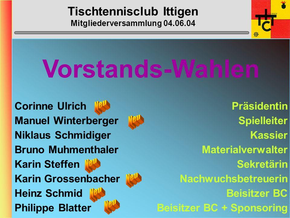 Tischtennisclub Ittigen Mitgliederversammlung 04.06.04 MTTV-Cup 1.