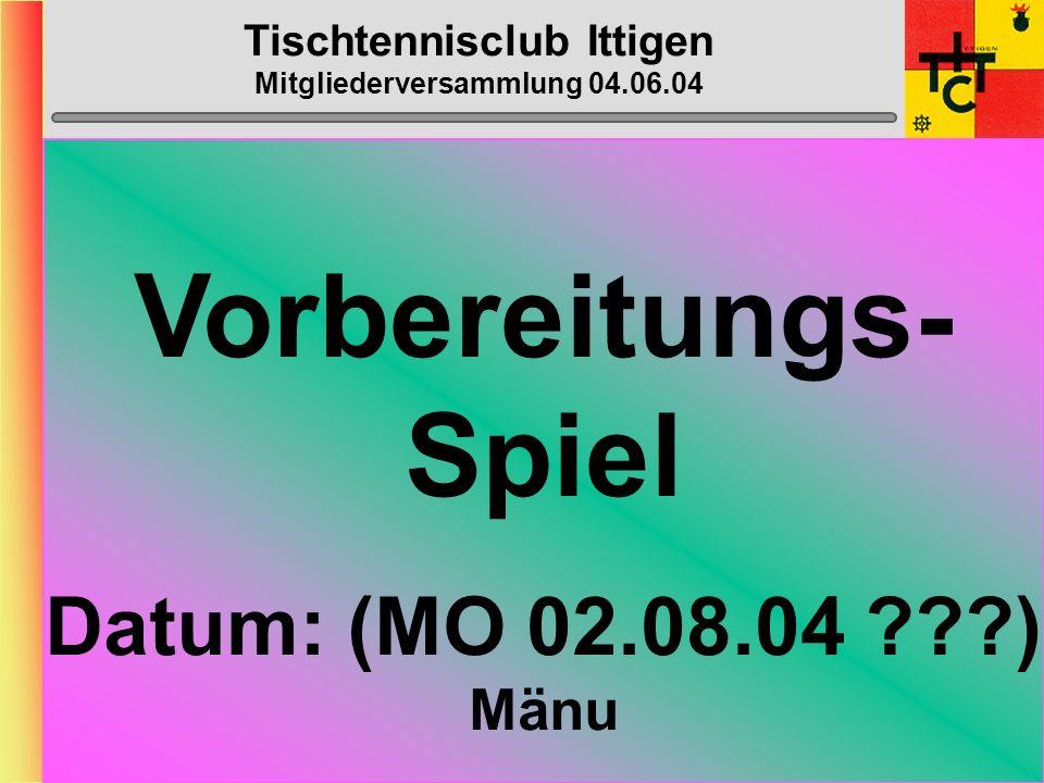 Tischtennisclub Ittigen Mitgliederversammlung 04.06.04 Top-Spin-Heft Konzept vom Grossi...
