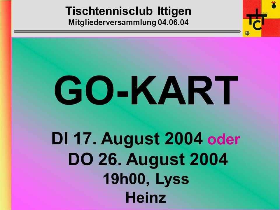 Tischtennisclub Ittigen Mitgliederversammlung 04.06.04 Vorbereitungs- Spiel Datum: (MO 02.08.04 ) Mänu