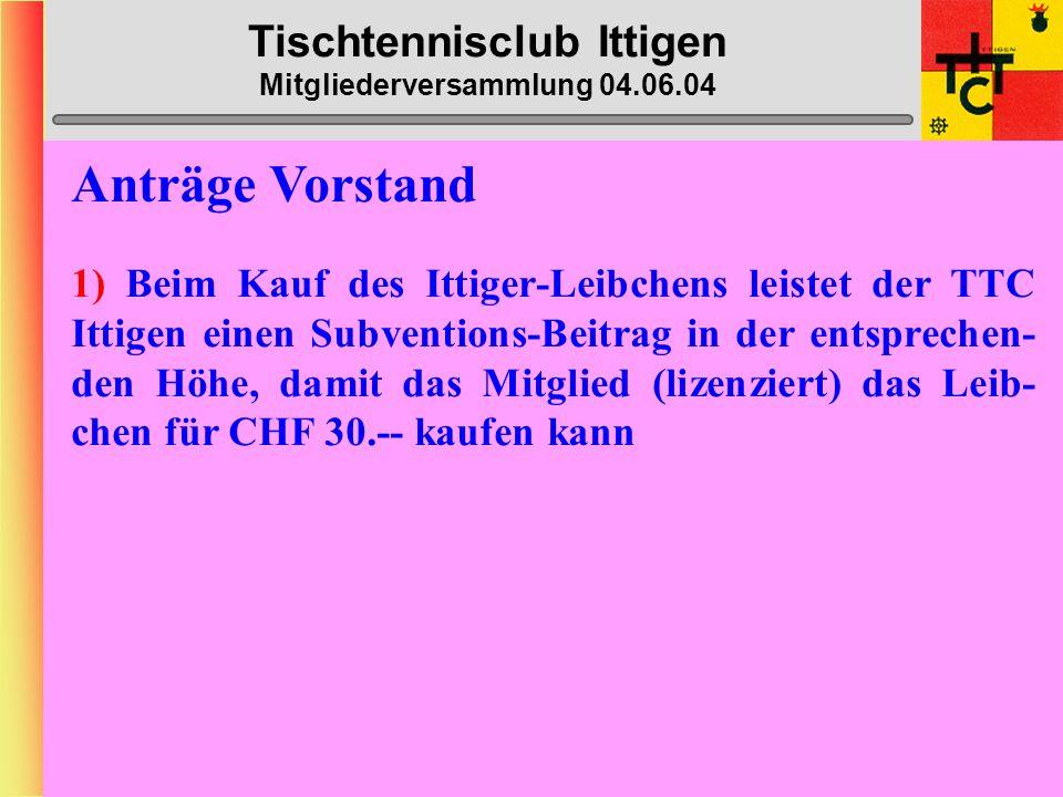Tischtennisclub Ittigen Mitgliederversammlung 04.06.04 Bantiger-Cup Samstag, 5.
