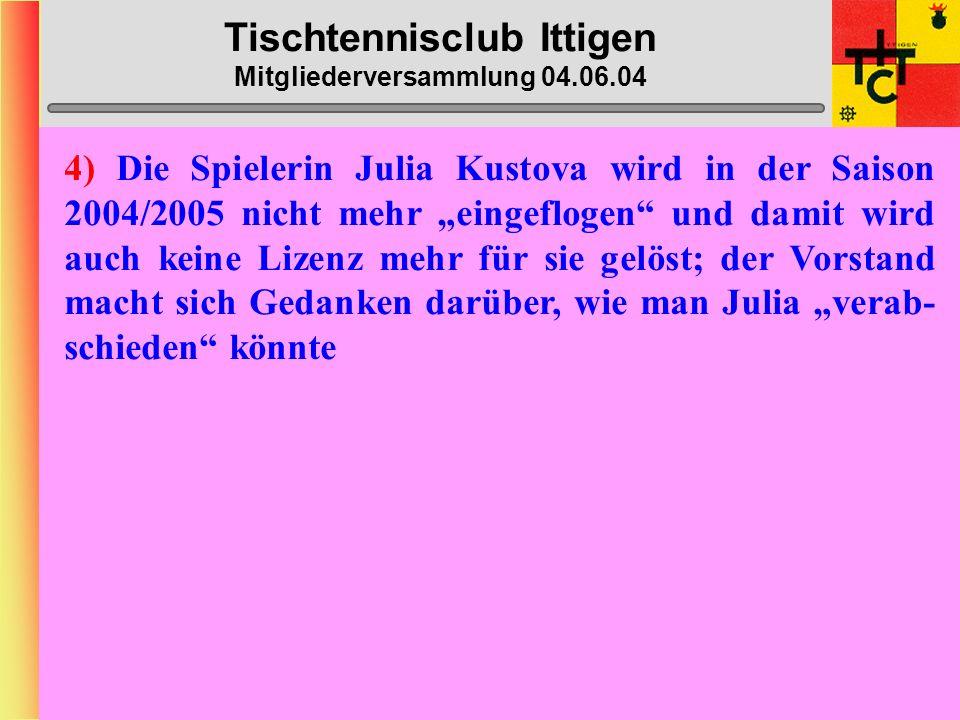 Tischtennisclub Ittigen Mitgliederversammlung 04.06.04 2) Ausgabenbestimmungen: Gem.