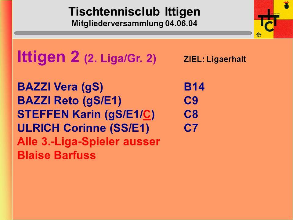 Tischtennisclub Ittigen Mitgliederversammlung 04.06.04 Ittigen 1 (1.