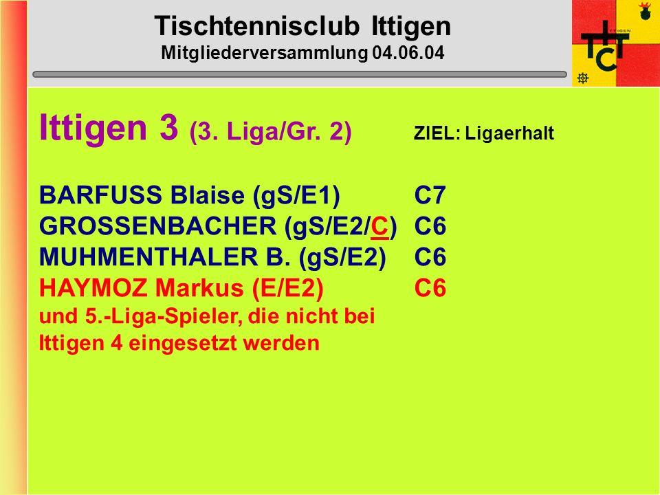 Tischtennisclub Ittigen Mitgliederversammlung 04.06.04 Ittigen 2 (2.