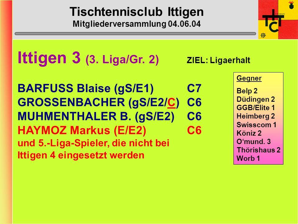 Tischtennisclub Ittigen Mitgliederversammlung 04.06.04 Ittigen 3 (3.