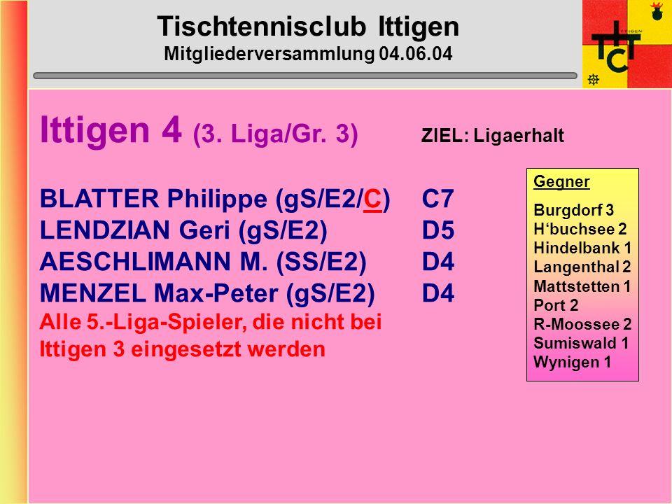 Tischtennisclub Ittigen Mitgliederversammlung 04.06.04 Ittigen 4 (3.