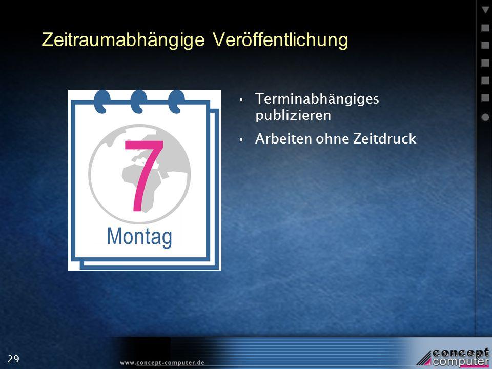 29 Zeitraumabhängige Veröffentlichung Terminabhängiges publizieren Arbeiten ohne Zeitdruck