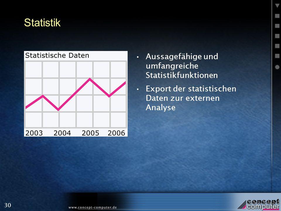30 Statistik Aussagefähige und umfangreiche Statistikfunktionen Export der statistischen Daten zur externen Analyse