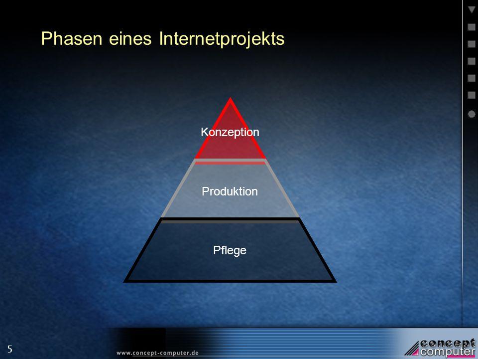 5 Phasen eines Internetprojekts Konzeption Produktion Pflege
