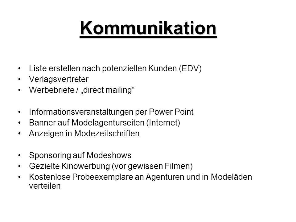 Kommunikation Liste erstellen nach potenziellen Kunden (EDV) Verlagsvertreter Werbebriefe / direct mailing Informationsveranstaltungen per Power Point