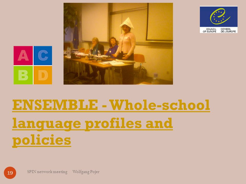 SPIN network meeting Wolfgang Pojer 19 ENSEMBLE - Whole-school language profiles and policies