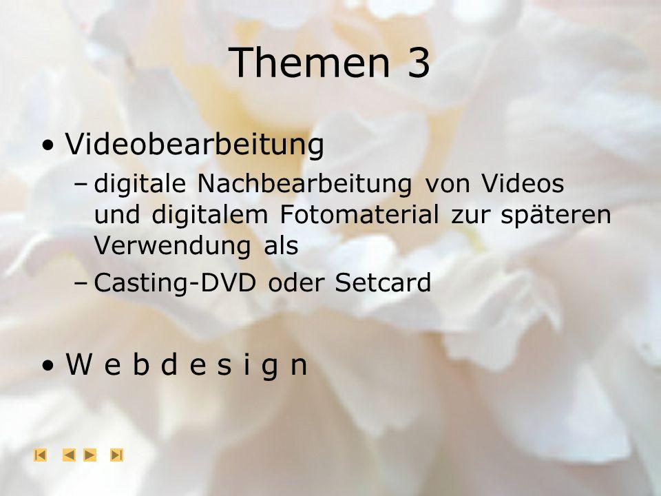 Themen 3 Videobearbeitung –digitale Nachbearbeitung von Videos und digitalem Fotomaterial zur späteren Verwendung als –Casting-DVD oder Setcard W e b d e s i g n