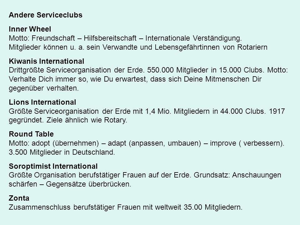 Andere Serviceclubs Inner Wheel Motto: Freundschaft – Hilfsbereitschaft – Internationale Verständigung. Mitglieder können u. a. sein Verwandte und Leb
