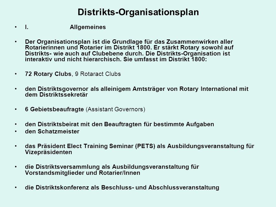 Distrikts-Organisationsplan I. Allgemeines Der Organisationsplan ist die Grundlage für das Zusammenwirken aller Rotarierinnen und Rotarier im Distrikt