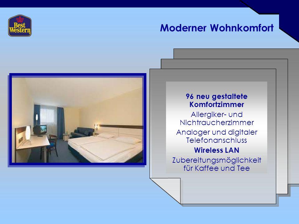 Moderner Wohnkomfort 96 neu gestaltete Komfortzimmer Allergiker- und Nichtraucherzimmer Analoger und digitaler Telefonanschluss Wireless LAN Zubereitungsmöglichkeit für Kaffee und Tee