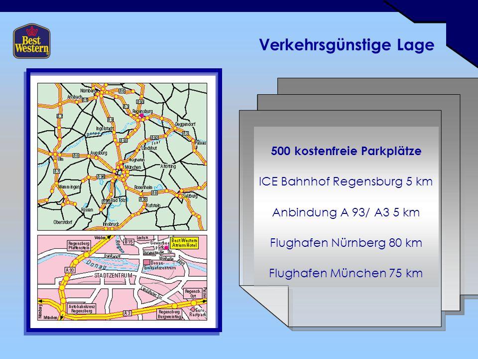 Verkehrsgünstige Lage 500 kostenfreie Parkplätze ICE Bahnhof Regensburg 5 km Anbindung A 93/ A3 5 km Flughafen Nürnberg 80 km Flughafen München 75 km
