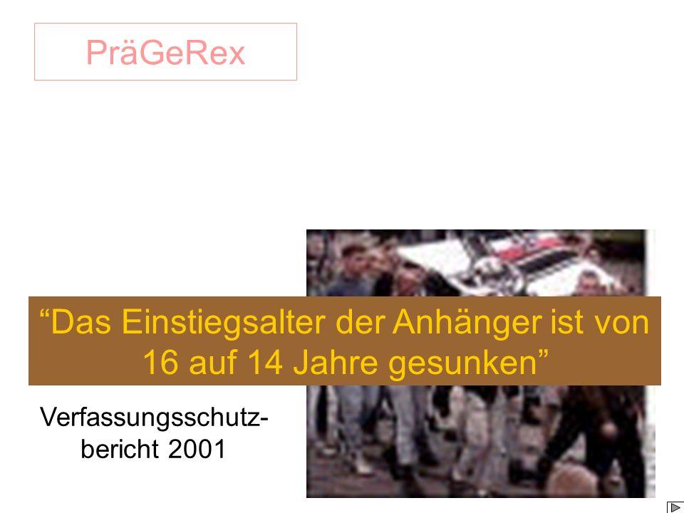 PräGeRex Das Einstiegsalter der Anhänger ist von 16 auf 14 Jahre gesunken Verfassungsschutz- bericht 2001