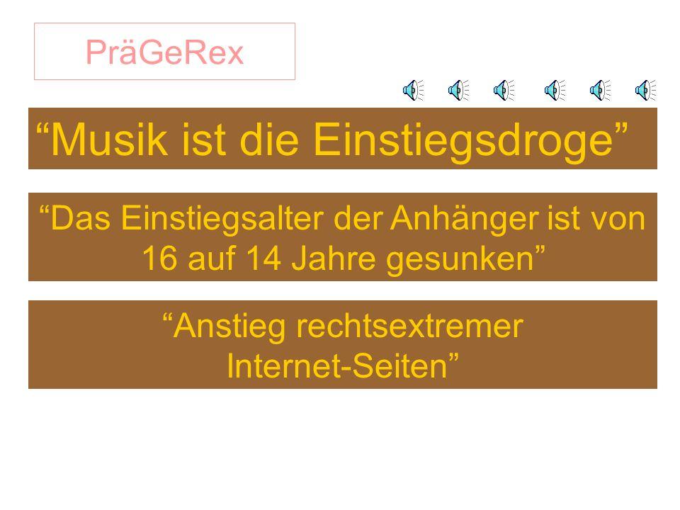 PräGeRex Musik ist die Einstiegsdroge Das Einstiegsalter der Anhänger ist von 16 auf 14 Jahre gesunken Anstieg rechtsextremer Internet-Seiten