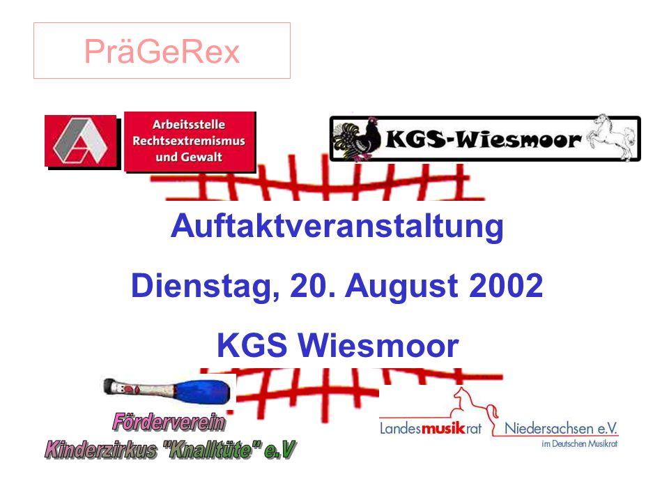 PräGeRex Auftaktveranstaltung Dienstag, 20. August 2002 KGS Wiesmoor