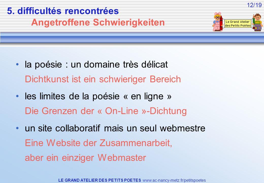 LE GRAND ATELIER DES PETITS POETES www.ac-nancy-metz.fr/petitspoetes 12/19 5. difficultés rencontrées Angetroffene Schwierigkeiten la poésie : un doma
