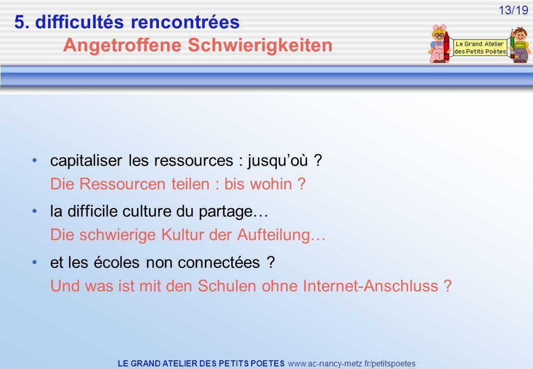 LE GRAND ATELIER DES PETITS POETES www.ac-nancy-metz.fr/petitspoetes 13/19 5. difficultés rencontrées Angetroffene Schwierigkeiten capitaliser les res