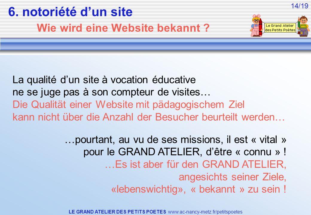 LE GRAND ATELIER DES PETITS POETES www.ac-nancy-metz.fr/petitspoetes 14/19 La qualité dun site à vocation éducative ne se juge pas à son compteur de v