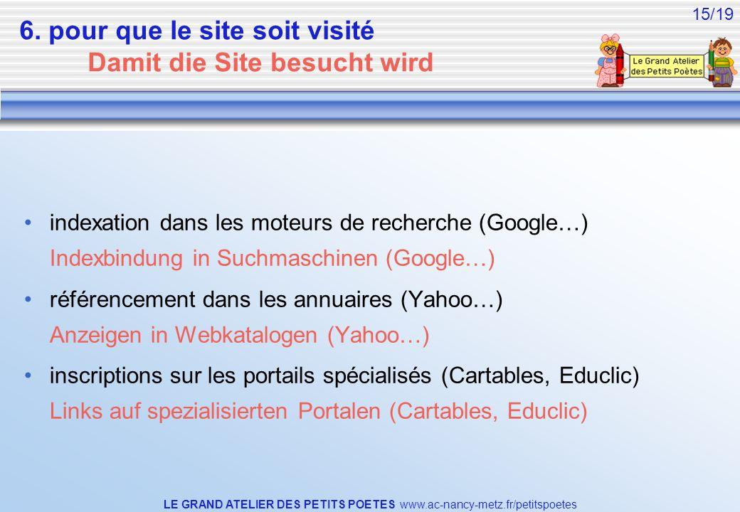 LE GRAND ATELIER DES PETITS POETES www.ac-nancy-metz.fr/petitspoetes 15/19 6. pour que le site soit visité Damit die Site besucht wird indexation dans