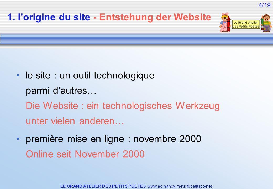 LE GRAND ATELIER DES PETITS POETES www.ac-nancy-metz.fr/petitspoetes 4/19 1. lorigine du site - Entstehung der Website le site : un outil technologiqu